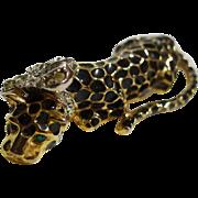 Kenneth Lane Leopard Enamel Rhinestone Pin