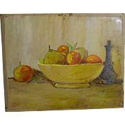 Still-life Fruit Bowl Painting on Wood Panel