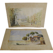 Signed WATERCOLORS  Versailles 1867    Lowestoft 1868