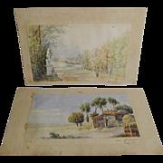 Signed WATERCOLORS  Versailles 1867    Lowestoft 1868