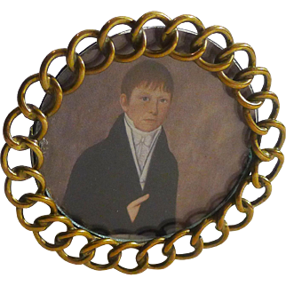 Miniature Brass RING Oval Picture Frame