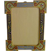 French Bronze Champleve Enamel Signed Picture Frame