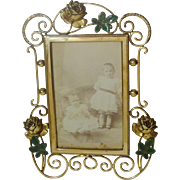 Roses and Enamel Leaf Brass Picture Frame 1880s