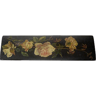 19th C. Papier Mache Floral Pen Box