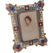 FRENCH Gold-Plated Champleve Enamel CDV Photo Frame