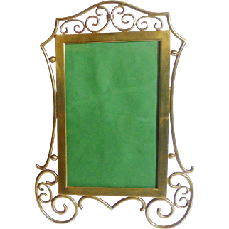 """Brass Scroll Antique Picture Frame 9 1/2"""" High"""