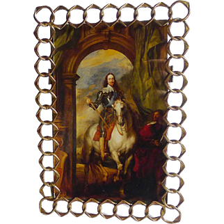 """Pointed English Brass RING Picture Frame 8"""" High"""