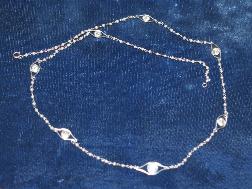 epoch platinum seed pearl chain necklace