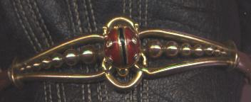 English Victorian gold enamel and diamond lady bug bracelet