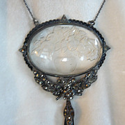 Art Deco Reverse Carved Glass Pendant Necklace