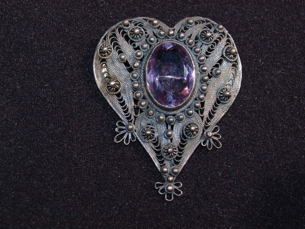 Edwardian Filagree Silver And Amethyst Pin