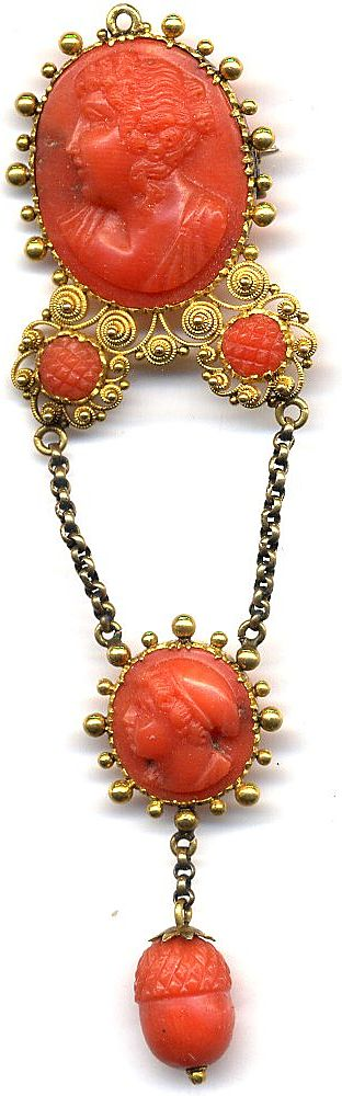 Georgian Cannetille Coral Cameo Dangle Brooch Pendant