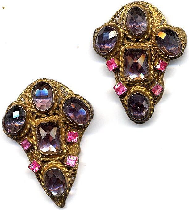 Art Deco Amethyst and tourmaline Dress Clips