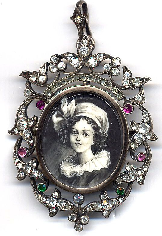 Edwardian Portrait pin with Fancy Paste Surround