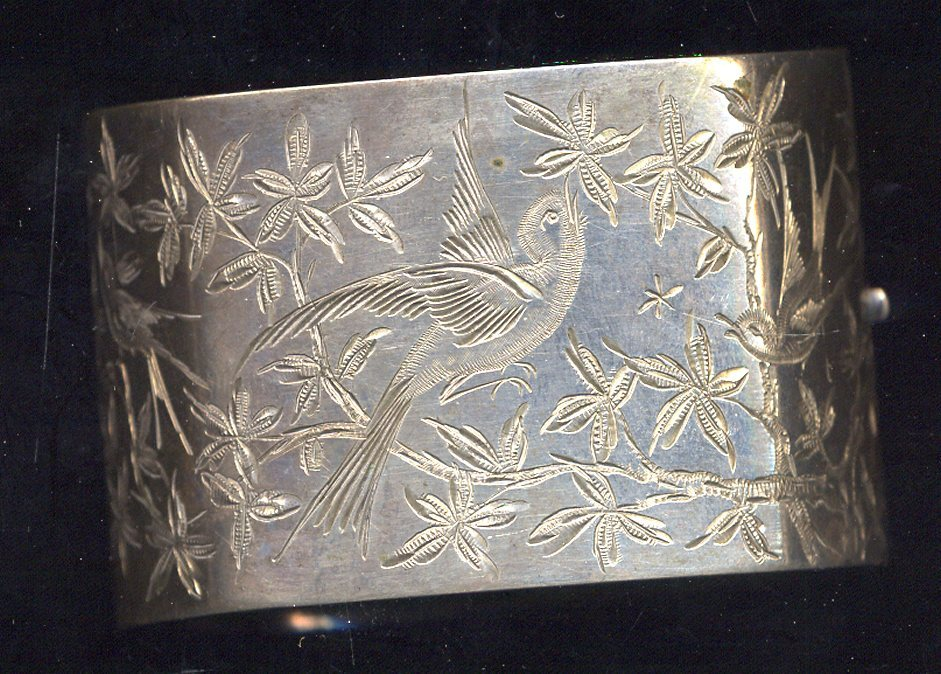 English Victorian Sterling Cuff Bracelet With Swallows