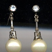 Intricate 950 Sterling Paste Pearl Dangle Earrings
