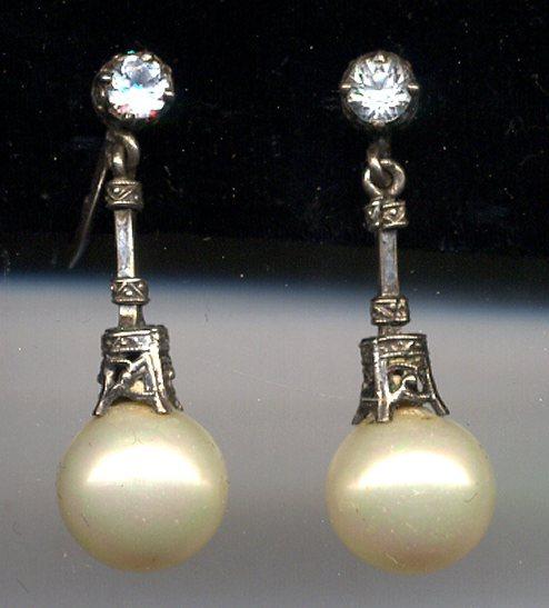 Intricate 950 Sterling Paste Pearl Dangle Earrings