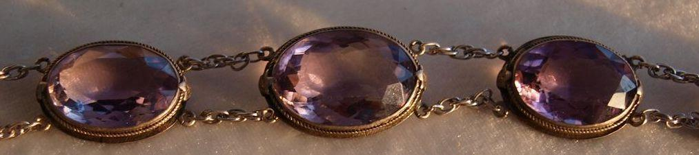Large Amethyst and silver bracelet 1920's glamour!