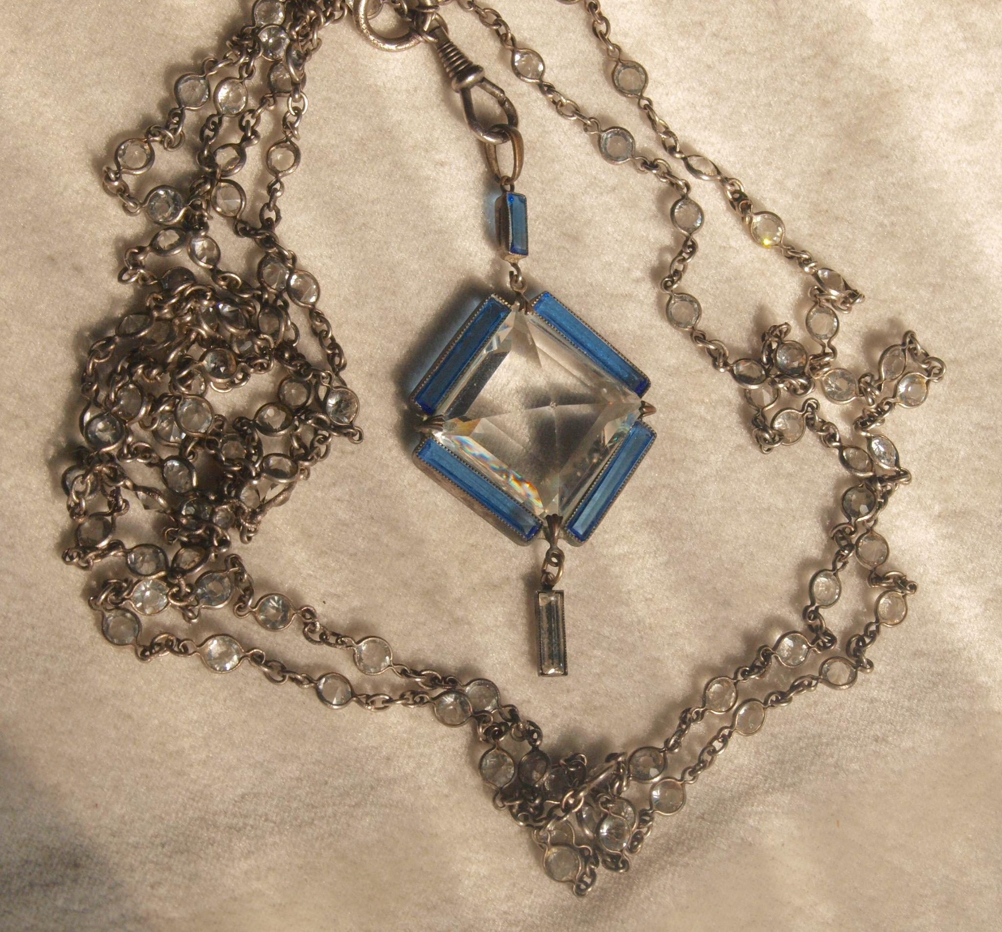 Victorian Paste Steel Muff Chain with Large Paste Pendant