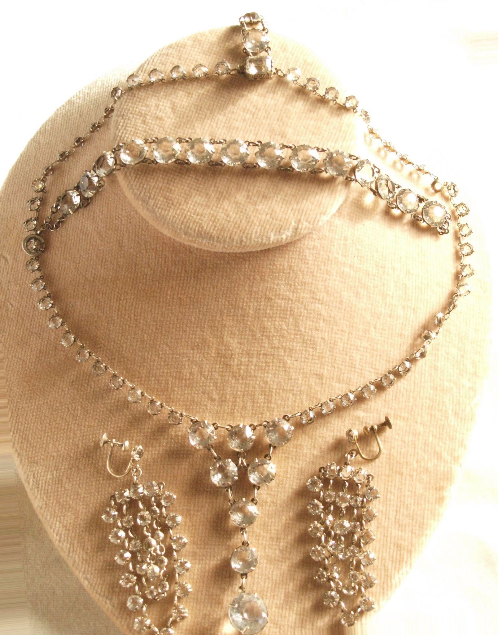 Art Deco Sterling Paste Demi Parure