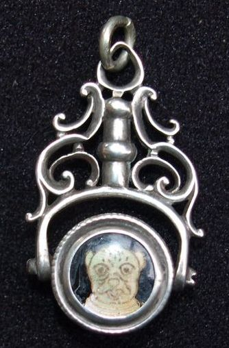 Most Unusual Sterling Swivel Fob With MOP Bull Dog!