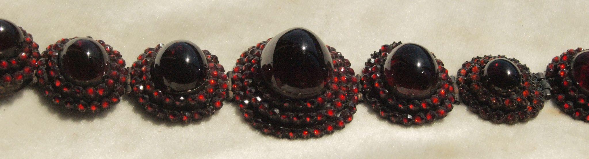Ravishing Victorian Garnet Cluster Bracelet Huge Garnets