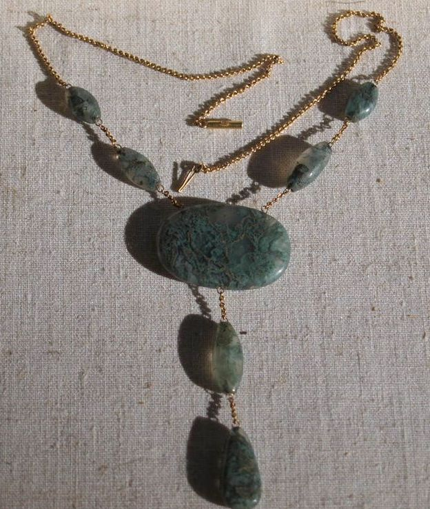 Victorian 9K English Moss agate drop necklace