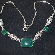 Art Deco Green Onyx and Marcasite Sterling Necklace