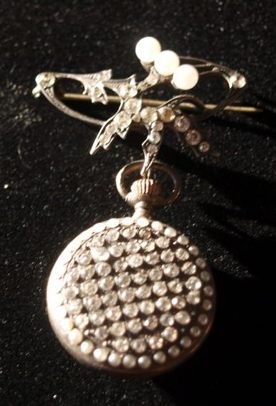 Victorian Ladies Silver Paste Pearl Pendant Watch