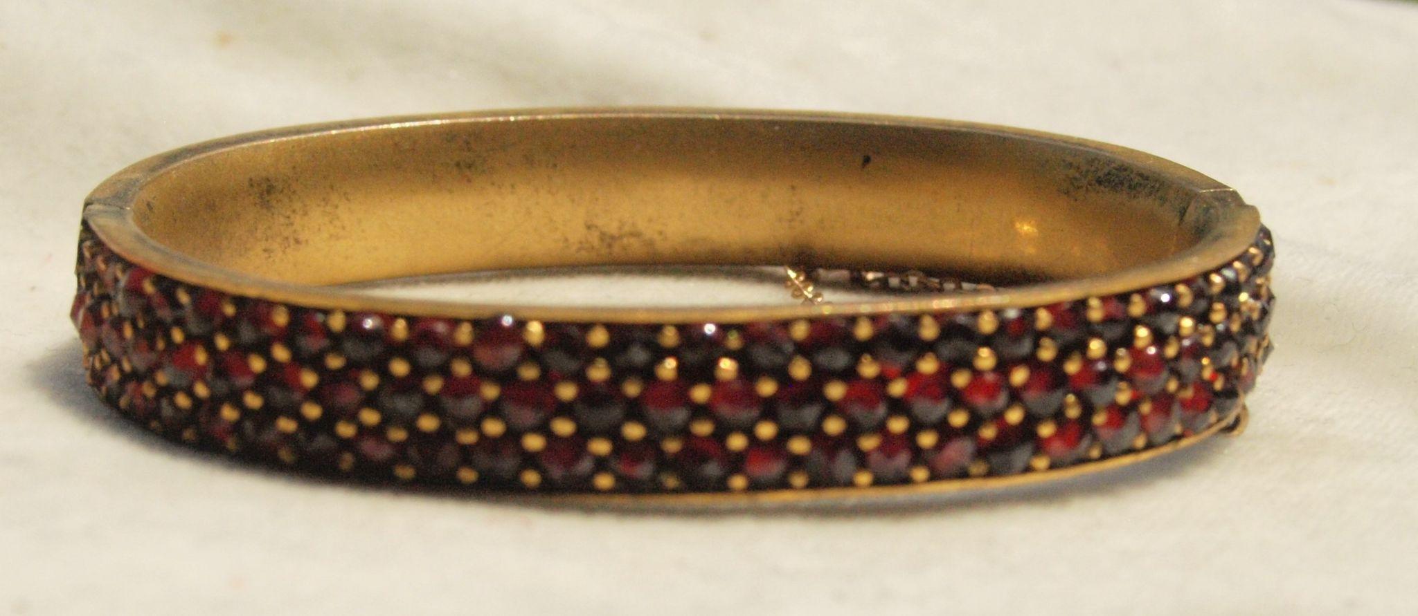 Three Row Victorian Bohemian Garnet Bracelet