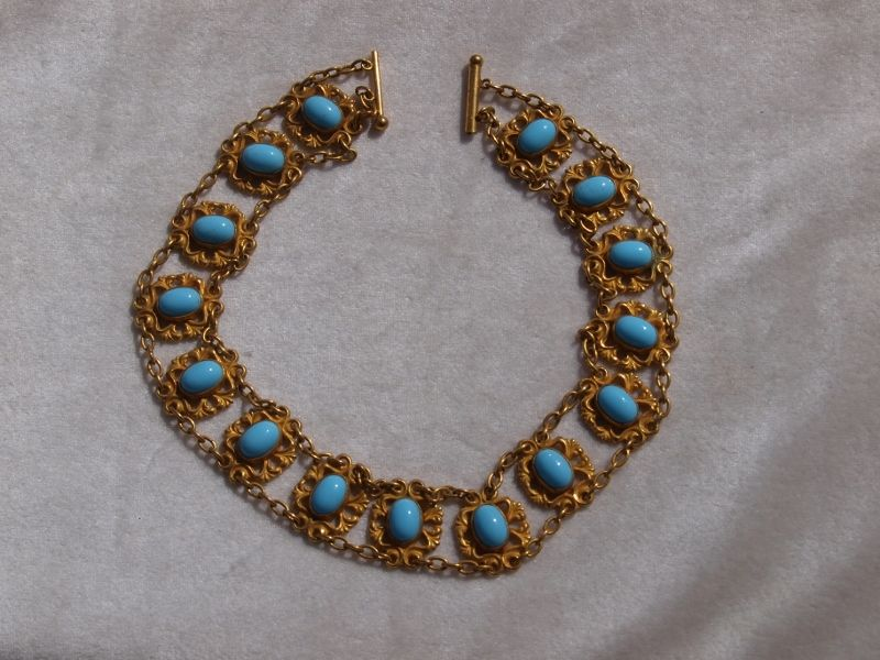 Victorian Turquoise Glass Choker Necklace in Pinchbeck