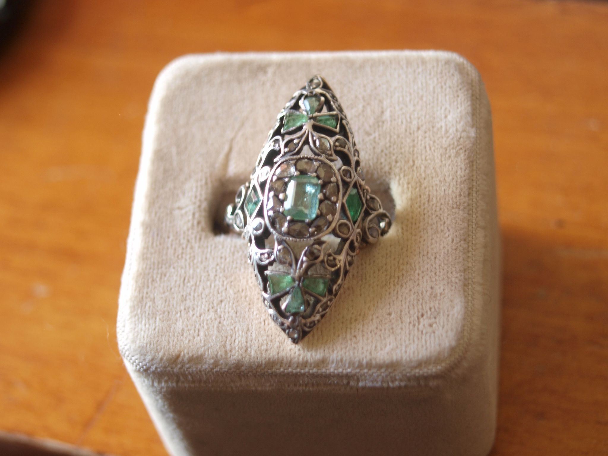 Large Fancy Victorian Emerald and Diamond Ring