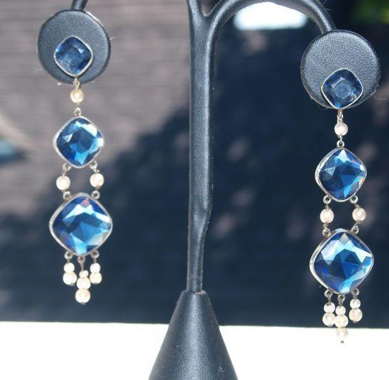 Dreamy Long Victorian Sapphire paste earrings in Gold & Silver
