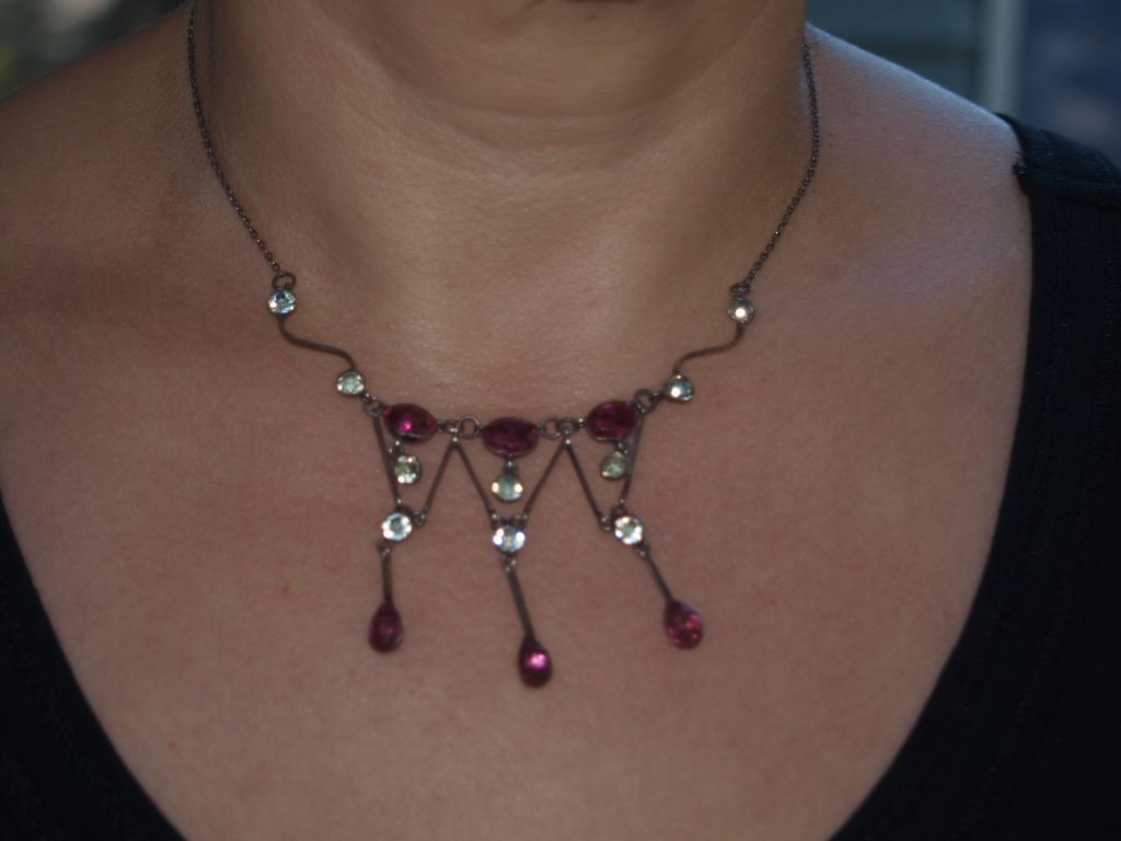 Edwardian Fuchsia Pink Paste Sterling Necklace