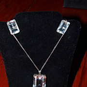 Japan Sterling Rock Crystal Necklace and Earrings