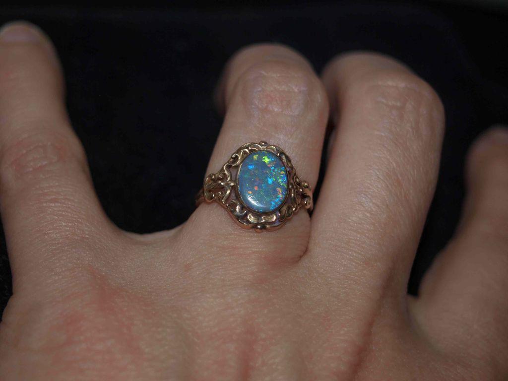 Victorian Black Opal ring Mizpah