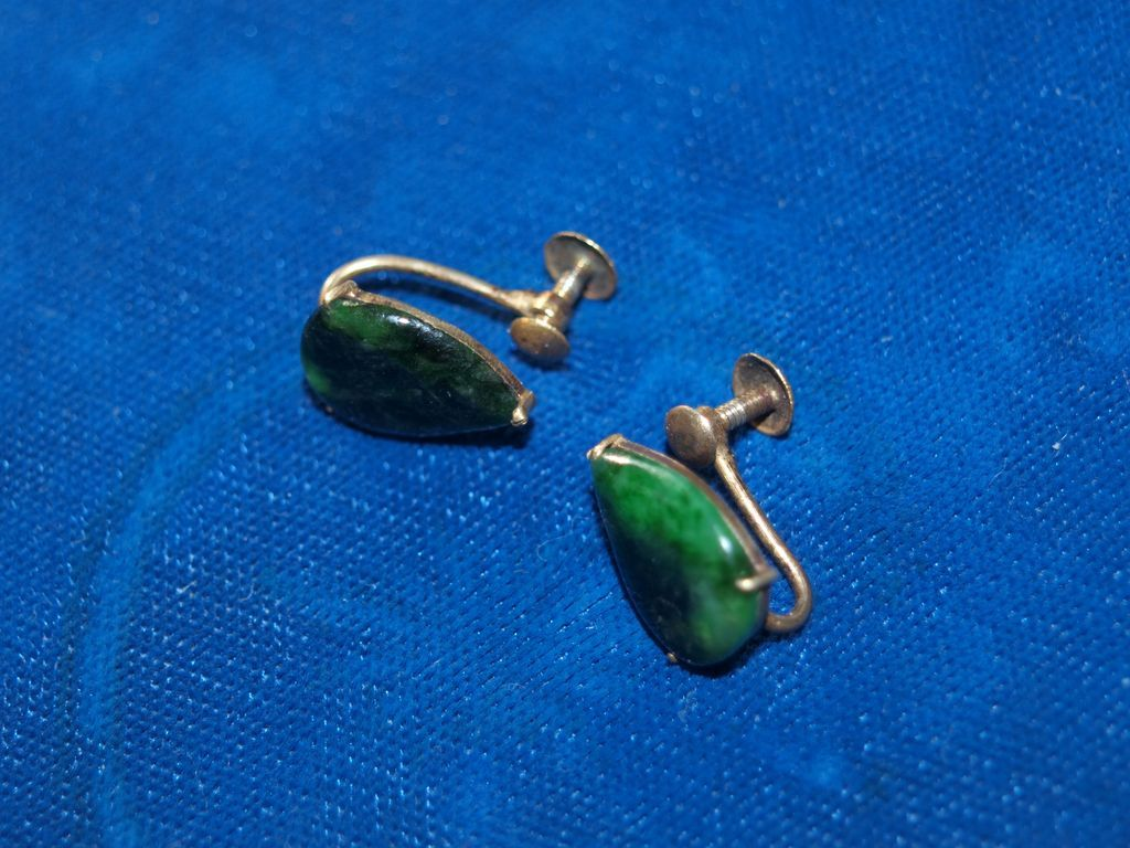 Chinese Silver gilt Jade earrings