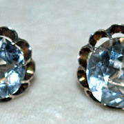 Mid Century Japan Sterling Rock Crystal Earrings