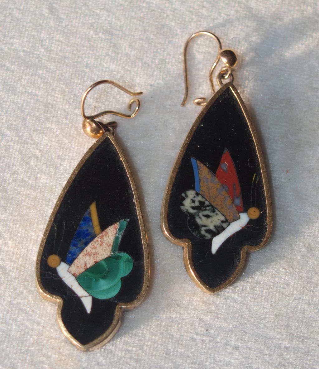 Victorian 14k Pietra Dura Butterfly Earrings