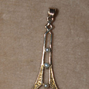 Art Nouveau 10k Diamond and Pearl Pendant