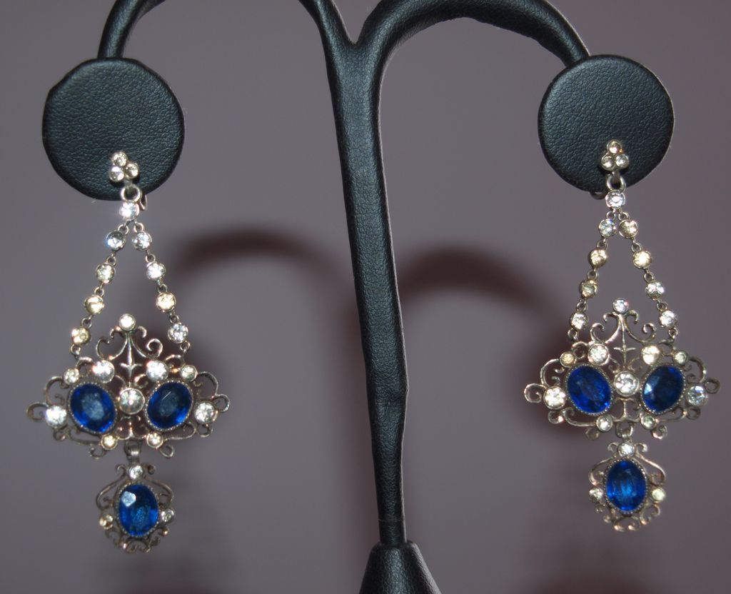 Grand French Sterling Paste Chandelier Earrings