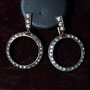 1920's Paste Hoop Earrings in Gold and Silver