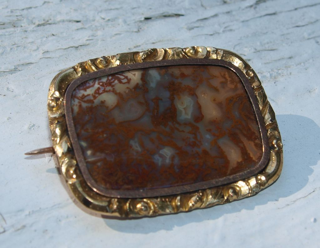Victorian Moss Agate Pin