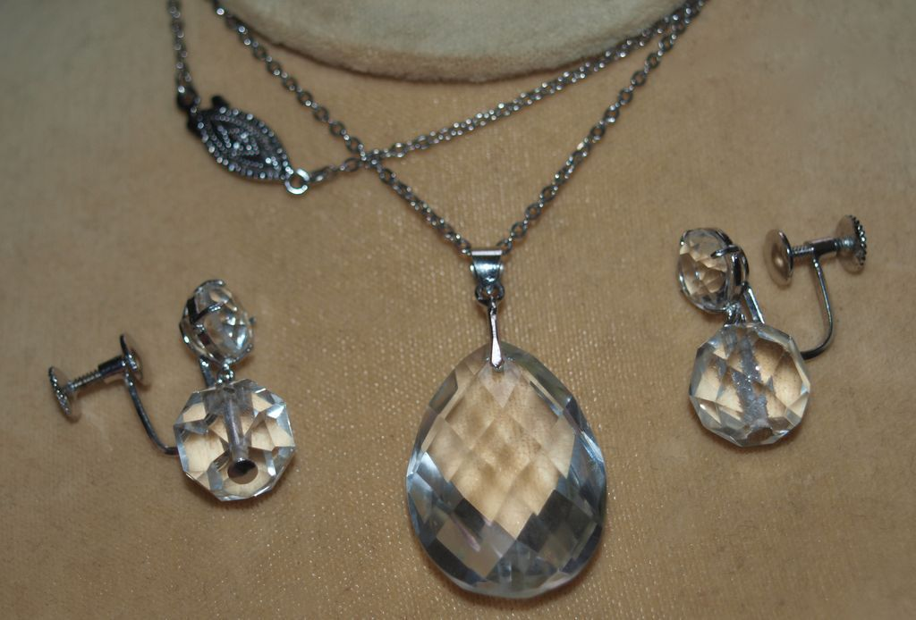 Mid Century Japan Sterling Rock Crystal Necklace and Earrings