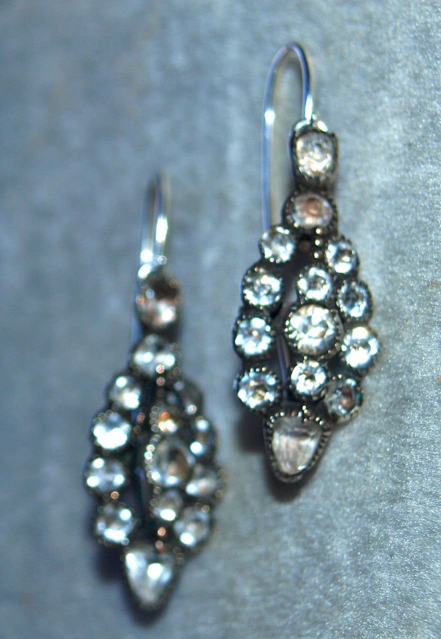 Georgian Paste Poissard Earrings in Silver