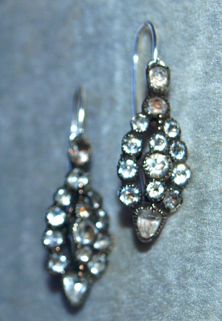 Georgian Paste Poissard Earrings in Silver