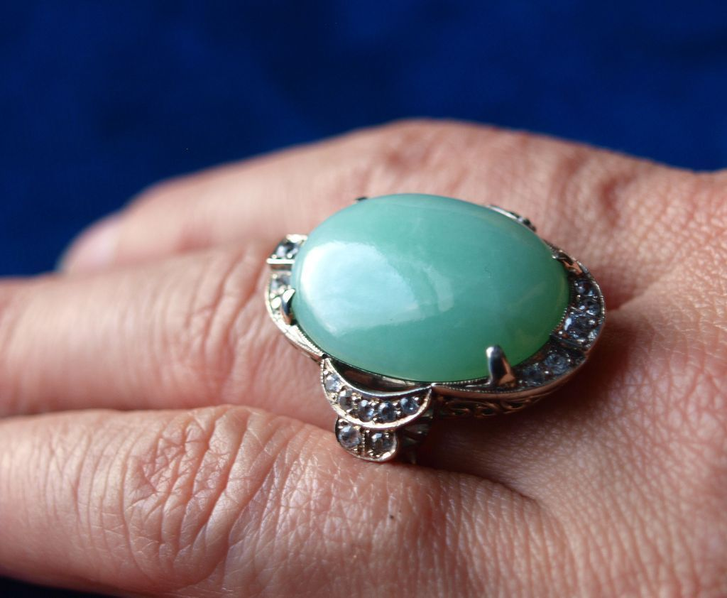 Sterling Paste Jade Ring Elaborate and Lush!