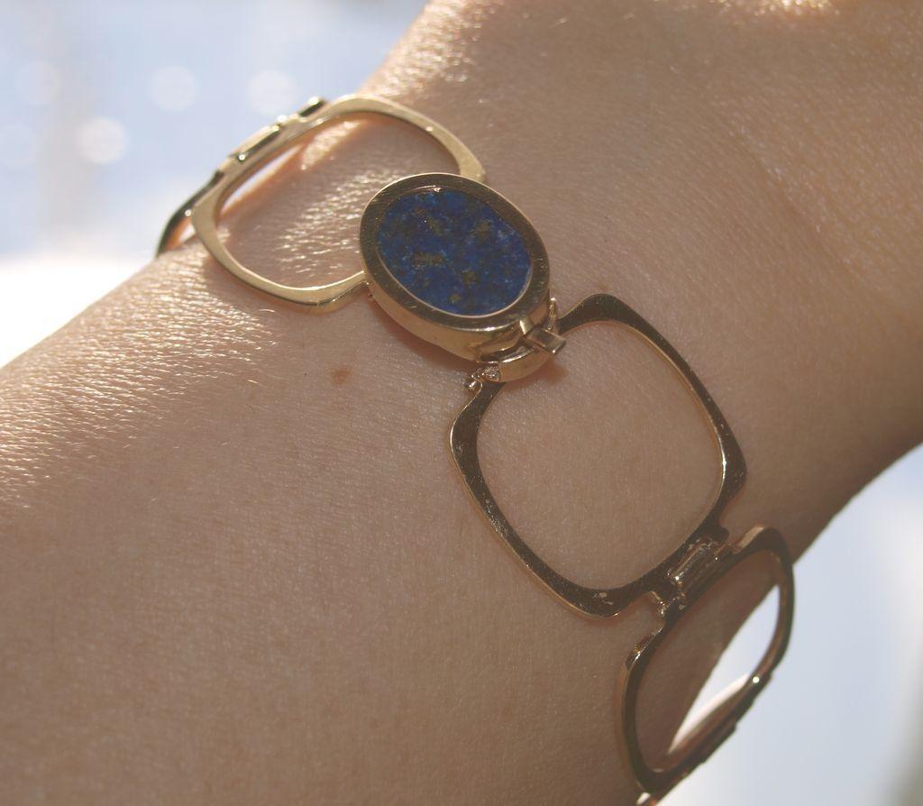 Rare 14k Ring bracelet with Lapis lazuli