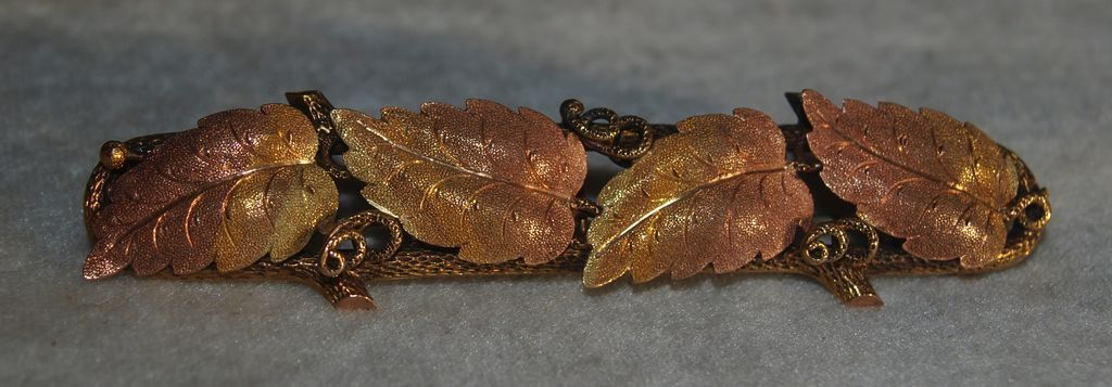 Large Victorian Black Hills Gold Leaf Pin