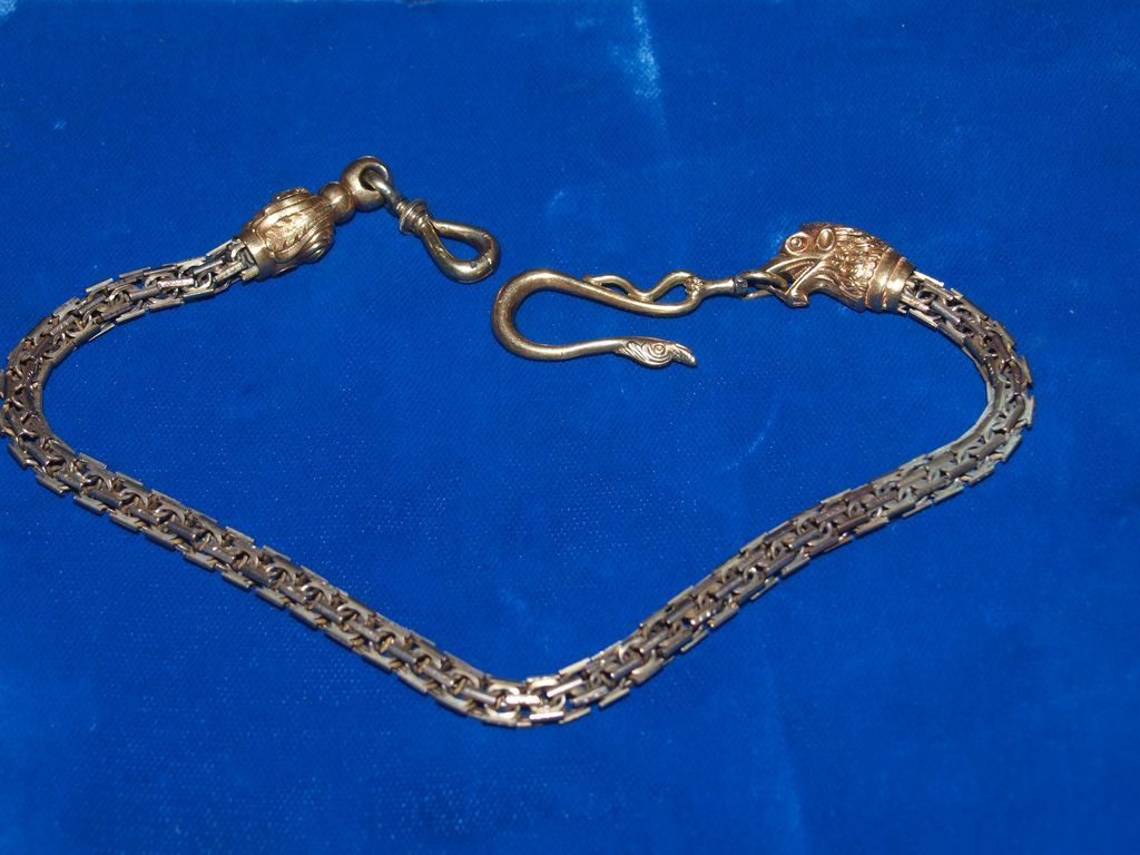 Victorian Heavy Gold Figural Watch Chain Hand Made